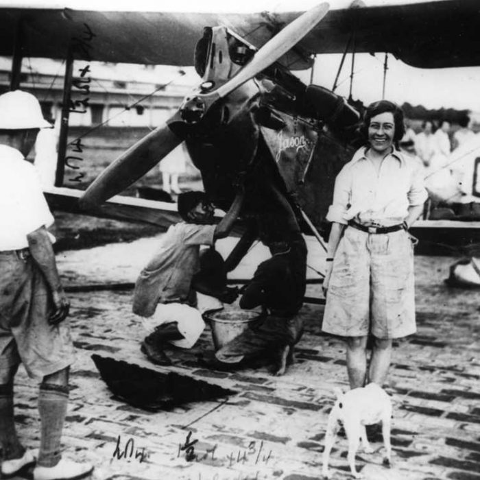 FLASHBACK HDM ARCHIVE LIBRARY IMAGES Subject - Hull born pioneer aviator, Amy Johnson COPYRIGHT BELONGS TO - National Portait Gallery Date - 12/5/1930 Caption - Amy Johnson in Calcutta during her flight to Australia.  Words - Amy Johnson, CBE - Born on St Georges Road in Hull in 1 July 1903 - died 5 January 1941 Was a pioneering English aviator and was the first female pilot to fly alone from Britain to Australia in a de Havilland DH60 Gypsy Moth she called Jason - G-AAAH. She left Croydon, south of London, on 5 May of that year and landed in Darwin, Northern Territory, on 24 May after flying 11,000 miles (18,000 km). Her aircraft for this flight can still be seen in the Science Museum in London.  Flying solo or with her husband, Jim Mollison, she set numerous long-distance records during the 1930s. She married Mollison in 1932, they divorced in 1938.  She flew in the Second World War as a part of the Air Transport Auxiliary and died during a ferry flight. On 5 January 1941, while flying an Airspeed Oxford for the ATA from Prestwick via Blackpool to RAF Kidlington near Oxford, Johnson went off course in adverse weather conditions. Reportedly out of fuel, she bailed out as her aircraft crashed into the Thames Estuary.